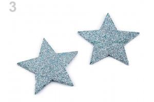 Drevené hviezdy, vločky s flitrami Ø50mm