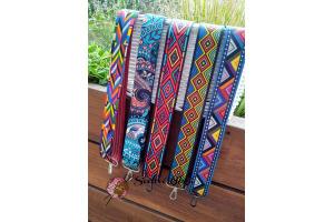 Rúčky-popruh na tašky - crossbody s farebnými vzormi