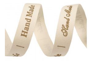 Bavlnená stuha šírka 15 mm s potlačou Handmade
