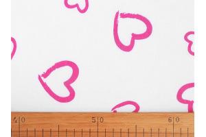 Látka bavlnená - Ružové srdiečka na bielom podklade