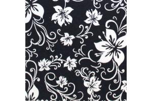 Látka bavlnená - biele kvety na tmavomodrom podklade