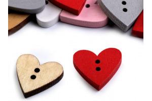 Gombík drevený dekoračný srdce