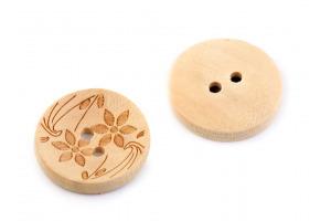 Gombík drevený - Kvety - Ø20mm
