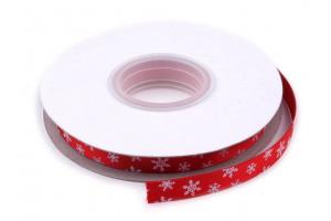 Vianočná stuha šírka 10 mm vločky