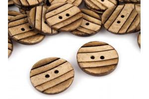 Gombík drevený - kokos prúžkovaný - Ø23mm