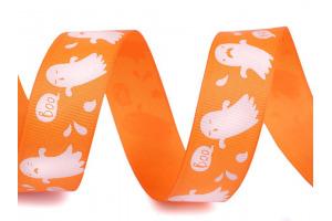 Rypsová stuha halloween šírka 25 mm - oranžová