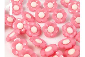 Gombík plastový - Farebné kvetinky - Ø18 mm