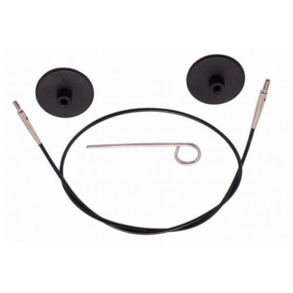 Knitpro - Vymeniteľné lanko na ihlice - čierne