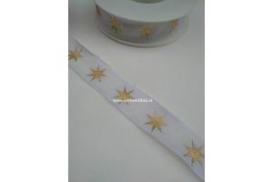 Stuha vianočná - hviezdičky 25 mm