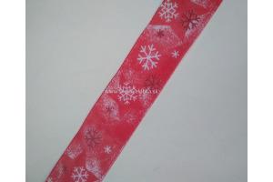 Stuha vianočná - snehové vločky 25 mm