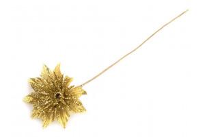 Vianočný kvet na drôtiku s flitrami Ø3,5 cm