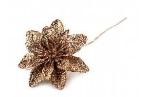 Vianočný kvet na drôtiku s flitrami Ø5,5 cm - 6 kusov