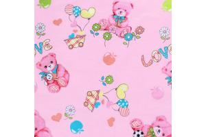 Látka bavlnená - macko s balónikmi na ružovom podklade