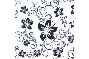 Látka bavlnená - tmavomodré kvety na bielom podklade