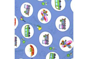 Látka bavlnená -mix dopravných prostriedkov na modrom podklade