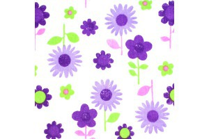Látka bavlnená - fialové kvety na bielom podklade