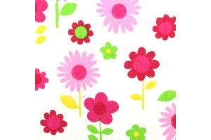 Látka bavlnená - ružové kvety na bielom podklade